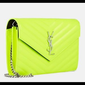 Saint Laurent YSL Neon Yellow Wallet on a Chain